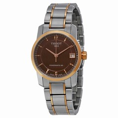 Tissot T-Classic Automatic Brown Dial Two-tone Ladies Watch T0872075529700